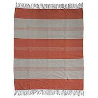 Cotton tablecloth, 'Tangerine' - Beige and Orange Striped Cotton Handwoven Zapotec Tablecloth