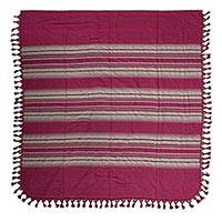 Cotton bedspread, 'Rosa Mexicana' (twin) - Zapotec Red and Beige Handwoven Cotton Twin Bedspread