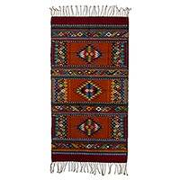 Zapotec wool rug, 'Stars in Color' (2.5x5) - Intricate Star Motif Zapotec Handwoven Area Rug