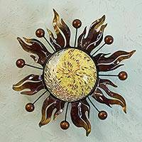 Iron wall lamp, 'Interplanetary Eclipse' - Hand Crafted Iron and Glass Sun Wall Lamp with Planets