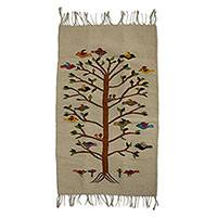 Zapotec wool rug, 'Tree of Life' (2x3.5) - Handwoven Bird Motif Wool Rug from Mexico (2 x 3.5 Ft)