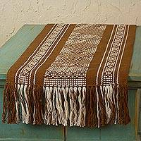 Cotton and silk table runner, 'Sparrows' - Zapotec Brown Bird Theme Backstrap Loom Woven Table Runner