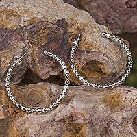 Sterling silver half hoop earrings, 'Moonglow' (large) - Fair Trade Taxco Half Hoop Sterling Silver Earrings (Large)
