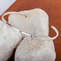 Sterling silver cuff bracelet, 'Contemporary Cross' - Minimalist Sterling Silver Handmade Cross Cuff Bracelet