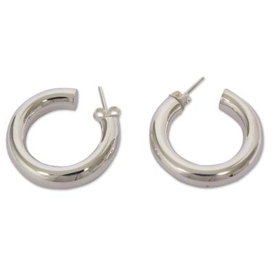 Minimalist Sterling Silver Handmade Half Hoop Earrings
