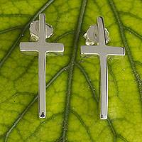 Sterling silver button earrings, 'My Faith' - Hand Crafted Polished Cross Earrings of Taxco Silver
