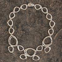 Sterling silver link necklace, 'Curvaceous' - Taxco Silver Modern Free Form Artisan Crafted Necklace