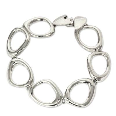 Fair Trade Chunky Geometric Sterling Silver Link Bracelet
