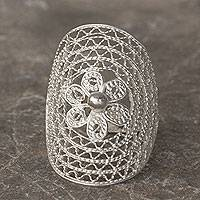 Sterling silver cocktail Ring, 'Filigree Flower' - Mexican Floral Filigree Handmade Silver Cocktail Ring