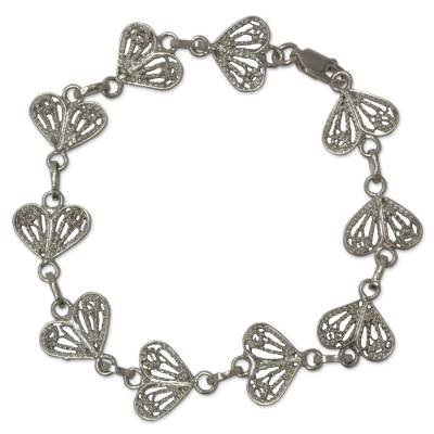 Floral Filigree Handmade Silver Heart Bracelet from Mexico