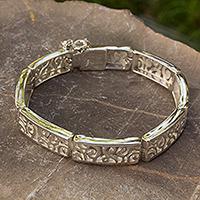 Sterling silver link bracelet, 'Silver Clouds'
