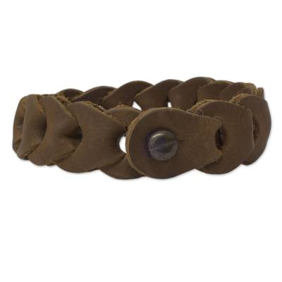 Distressed Golden Brown Braided Leather Bracelet