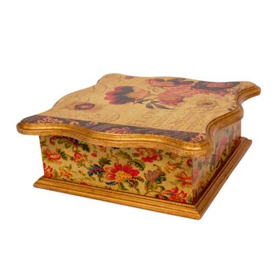 Flower Theme Decoupage Gilded Decorative Pinewood Box