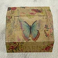 Decoupage box, 'Butterfly Enchantment' - Floral Decoupage Box with Butterflies and Hidden Drawer