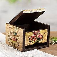 Decoupage box, 'Tea Time' - Petite Ventilated Decoupage Decorative Tea Box from Mexico