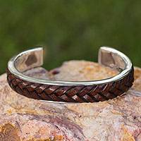 Sterling silver and leather cuff bracelet, 'Rancho Brown' - Artisan Crafted Taxco Silver Cuff with Brown Leather Braid