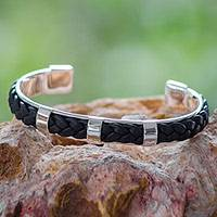 Sterling silver and leather cuff bracelet, 'Sierra' - Hand Crafted Sterling Silver and Black Leather Cuff Bracelet