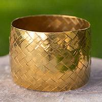 Gold plated bangle bracelet, 'Chuspata Charm' - Artisan Crafted Gold Plated Copper Woven Bangle Bracelet