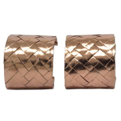 Mexican Hand Woven Pink Gold Plated Half Hoop Earrings