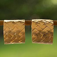 Gold plated half hoop earrings,
