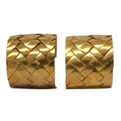 Artisan Crafted Gold Plated Woven Half Hoop Earrings
