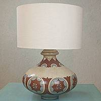 Ceramic lamp, 'Earthen Sun' - Hand Crafted Terracotta Table Lamp and Shade from Mexico