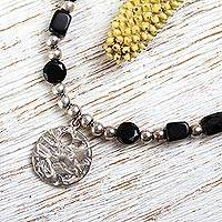 Onyx pendant necklace, 'Nocturnal Poetry' - Onyx Beaded Necklace with Sterling Silver Pendant