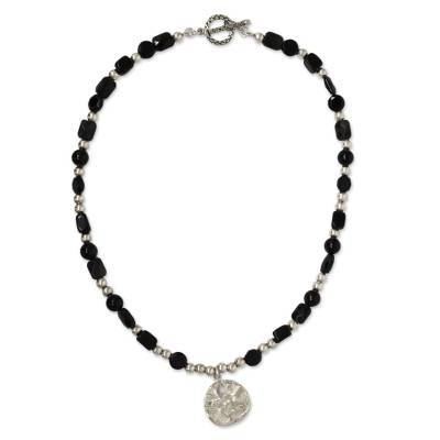 Onyx Beaded Necklace with Sterling Silver Pendant