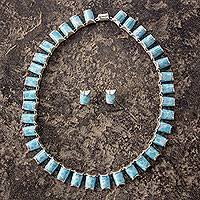 Larimar jewelry set, 'Atlantis' - Larimar Sterling Silver Necklace and Earrings jewellery Set