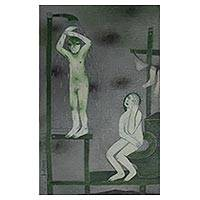 'Scaffold Bath' - Mexican Signed Surreal Oil Painting of Nudes Bathing