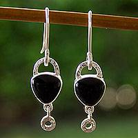 Obsidian dangle earrings, 'Fascination' - Women's Handmade Taxco Silver 950 Earrings with Obsidian