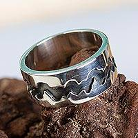 Silver band ring, 'Dark River' - Women's Handmade Band Ring of Taxco Silver 950