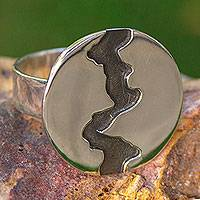 Silver cocktail ring, 'Dark River' - Women's Handmade Cocktail Ring of Taxco Silver 950