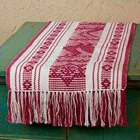 Cotton and silk table runner, 'Zapotec Melody' - Hand Woven Pink and White Cotton-Silk Blend Table Runner