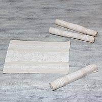 Cotton and silk placemats, 'Beige Myths' (set of four) - Deer and Frog Cotton Silk Hand Woven Placemats Set of 4