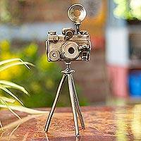 Upcycled metal sculpture, 'Rustic Camera'