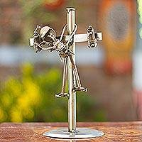 Auto part sculpture, 'Rustic Lineman' - Mexico Eco Friendly Handmade Recycled Auto Part Sculpture