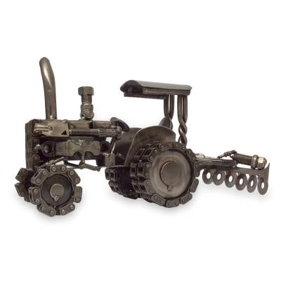 Auto parts sculpture, 'Rustic Tractor' - Unique Mexican Recycled Metal Tractor Sculpture