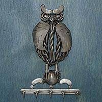 Auto part key rack, 'Rustic Wise Owl' - Mexico Owl Theme Auto Part Sculpture Handmade Key Rack