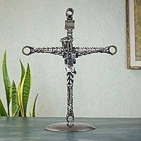 Auto part sculpture, 'Mechanic's Crucifix' - Handmade Eco Friendly Recycled Auto Parts Crucifix