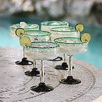 Margarita glasses, 'Eco Happy Hour' (set of 6) - Green Handblown Glass Margarita Drink Ware Set of 6