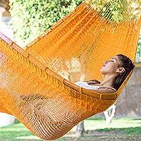 Cotton hammock, 'Pumpkin Sun' (double) - Hand Woven Orange Cotton Double Size Hammock