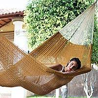 Cotton hammock, 'Caribbean Sun' (triple) - Mexican Hand Woven Yellow-Brown Cotton Hammock Triple Size