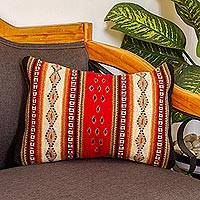 Zapotec wool cushion cover, 'Diamond Visions' - Mexican Authentic Zapotec Hand Woven Wool Cushion Cover
