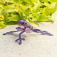 Wood figurine, 'Purple Dancing Frog' - Purple Hand Crafted Alebrije Style Frog Figurine Sculpture