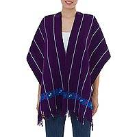 Cotton rebozo shawl, 'Plum Maya' - Hand Woven Purple Cotton Mexican Rebozo Shawl