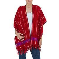 Cotton rebozo shawl, 'Cherry Maya' - Fair Trade Red Mexican Rebozo Shawl Woven by Hand