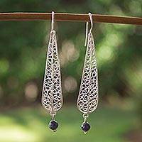 Lapis lazuli filigree earrings, 'Drops from the Sky' - Mexican Sterling Silver Filigree Earrings with Lapis Lazuli