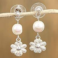 Cultured pearl filigree earrings,