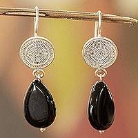 Onyx filigree earrings, 'Nocturnal' - Filigree Sterling Silver Earrings with Onyx Gems